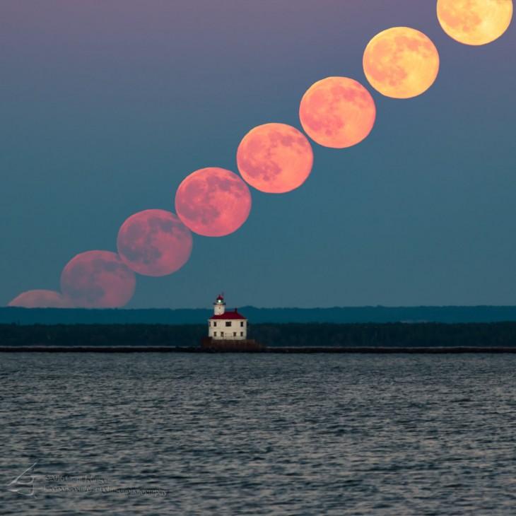 Seria ujęć pełni Księżyca 20 czerwca 2016 roku, wykonana w Duluth (Minnesota) przez fotografa Granta Johnsona.