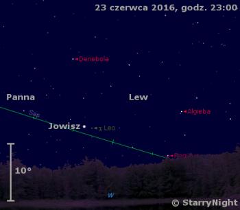 Położenie Jowisza wczwartym tygodniu czerwca 2016 r.