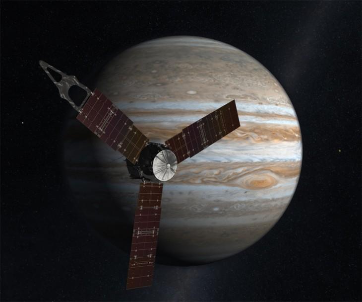 Wizualizacja sondy Juno na tle Jowisza.