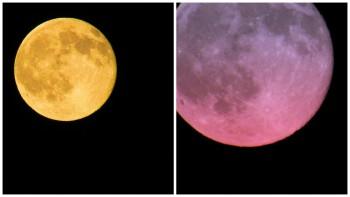 Księżyc wpełni 20 czerwca 2016 roku miał kolorowy odcień, stworzony przezświatło przechodzące przezatmosferę ziemską. Dla podkreślenia tego niecodziennego zjawiska zdjęcie Nate'a Lauranta zostało podkolorowane.
