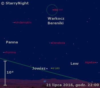 Położenie Jowisza w trzecim tygodniu lipca 2016 r.