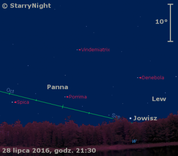 Położenie Jowisza wostatnim tygodniu lipca 2016 r.