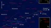 Położenie Księżyca, Urana i gwiazdy R And w ostatnim tygodniu lipca 2016 r.