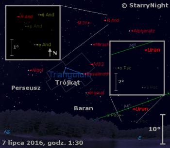 Położenie Urana igwiazdy R And wkońcu pierwszej dekady lipca 2016 r.