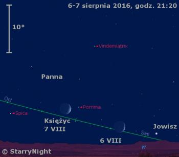 Położenie Księżyca i Jowisza w pierwszym tygodniu sierpnia 2016 r.