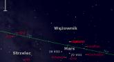 Położenie Marsa i Saturna w czwartym tygodniu sierpnia 2016 r.