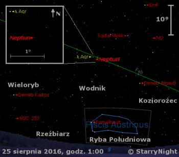 Położenie Neptuna wczwartym tygodniu sierpnia 2016 r.