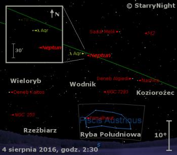 Położenie Neptuna w pierwszym tygodniu sierpnia 2016 r.