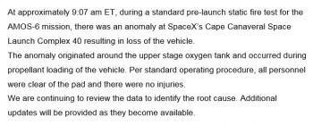 Status SpaceX powybuchu.