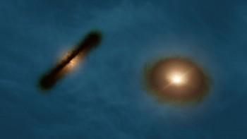 Artystyczna wizja podwójnego systemu HK Tau pokazuje dwa dyski protogwiezdne, które są podkątem względem siebie. Mierzenie orientacji gwiazd wsystemach wielokrotnych takich jak ten może pomóc astronomom dowiedzieć się, jak nowe gwiazdy tworzą takie systemy.