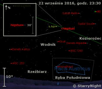 Położenie Neptuna wtrzecim tygodniu września 2016 r.
