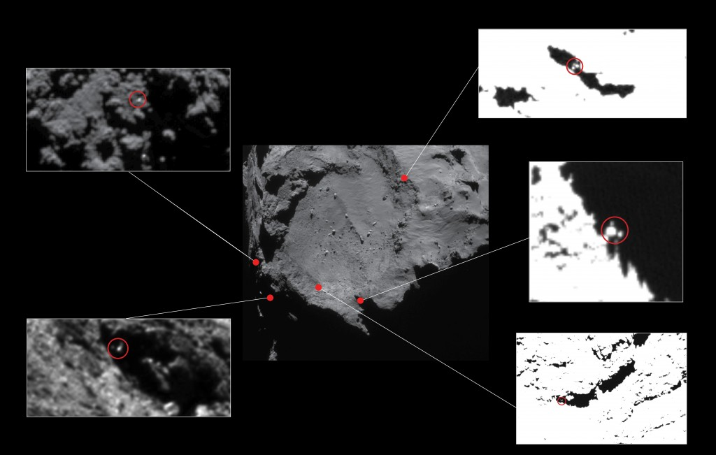 Możliwe miejsca lądowania Philae