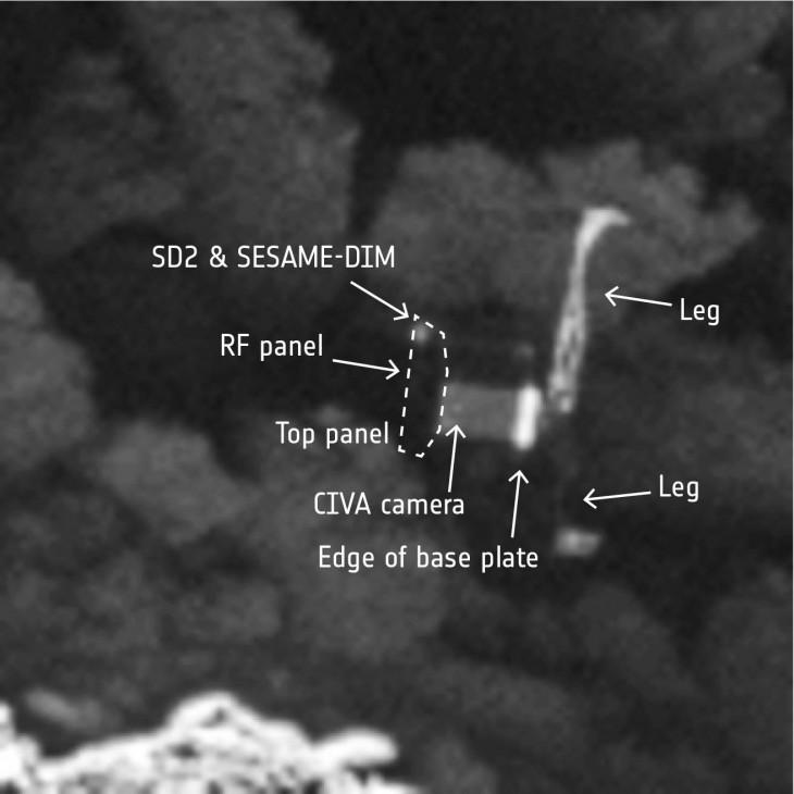 Zbliżenie Philae na zdjęciu kamery OSIRIS