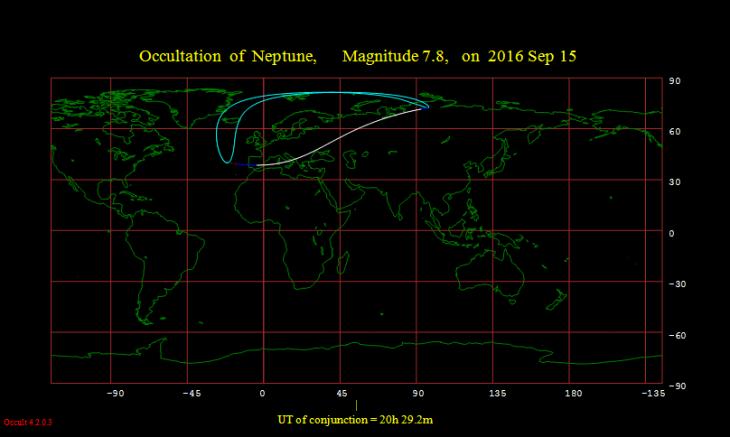 Obszar widoczności zakrycia Neptuna przez Księżyc 15 sierpnia 2016 r.