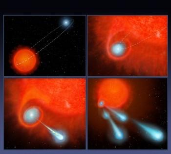 Wizja artystyczna ukazująca, wjaki sposób układ podwójny gwiazd V Hydrae wyrzuca kule plazmy wprzestrzeń.