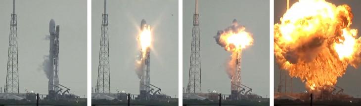 Grafika ukazująca przebieg eksplozji Falcona 9 podczas napełniania zbiorników paliwowych przed próbą zapłonu. Drugie zdjęcie od lewej ukazuje, że wybuch miał swoje źródło w drugim stopniu rakiety.