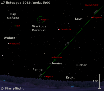 Położenie Jowisza iradiantu Leonidów wtrzecim tygodniu listopada 2016 r.