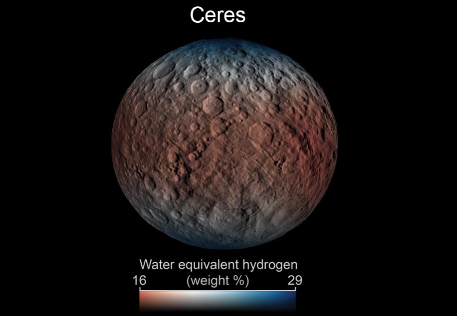 Rozmieszczenie wody przy powierzchni Ceres