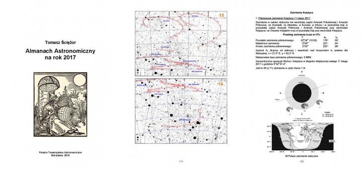 Almanach Astronomiczny na rok 2017 – okładka i przykładowe strony.