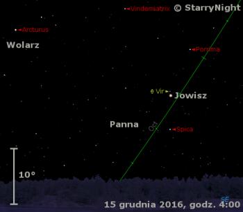 Położenie Jowisza w końcu drugiej dekady grudnia 2016 r.