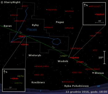 Położenie planet Wenus, Mars, Neptun i Uran oraz planety karłowatej Ceres w trzecim tygodniu grudnia 2016 r.