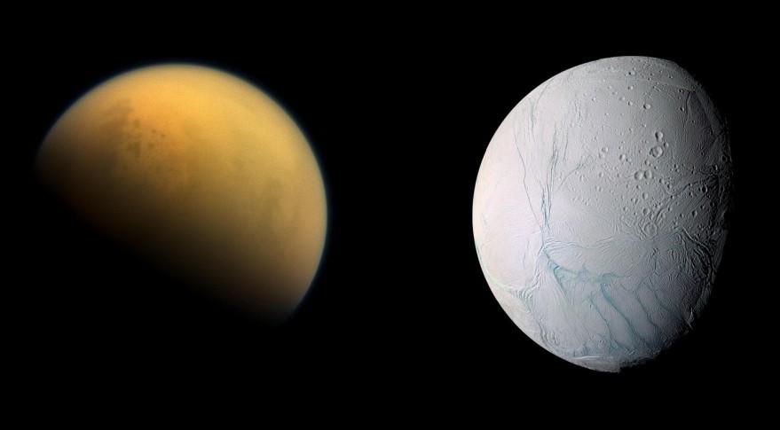 Tytan i Enceladus. Księżyce nie mają gęstej atmosfery, w której całkowicie spłonęłaby sonda.