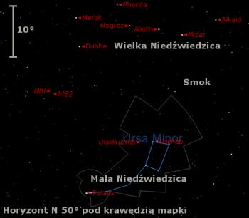 Położenie radiantu Ursydów wtrzecim tygodniu grudnia 2016 r.