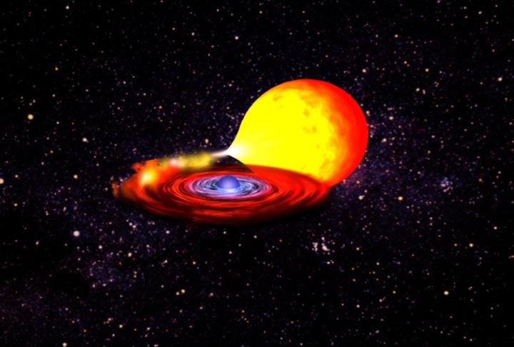 Artystyczna wizja układu kataklizmicznego, w którym zdegenerowana gwiazda pochłania materię towarzyszącej jej, mniej masywnej gwiazdy.