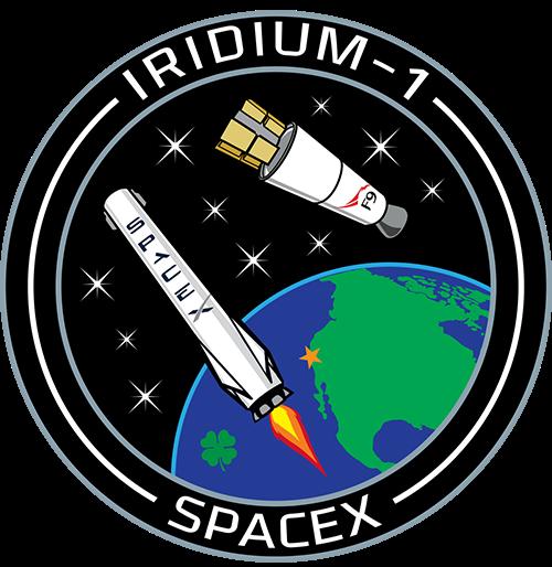 Oficjalny emblemat misji Idridium-1, wktórą jest zaangażowany SpaceX