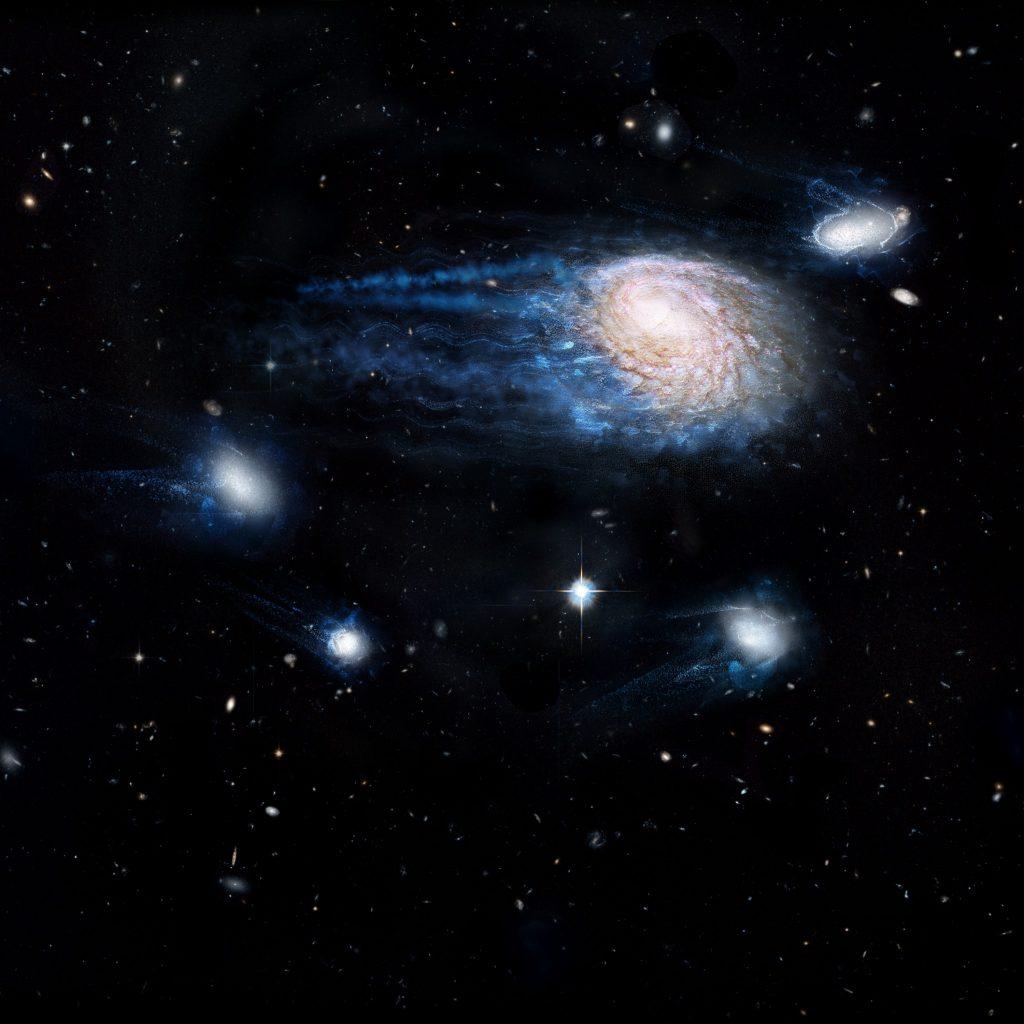 Artystyczna wizja procesu ram-pressure stripping galaktyki NGC 4921