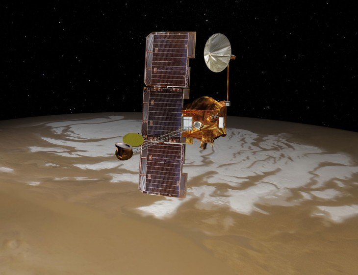 Artystyczna wizja satelity Mars Odysseus Orbiter.