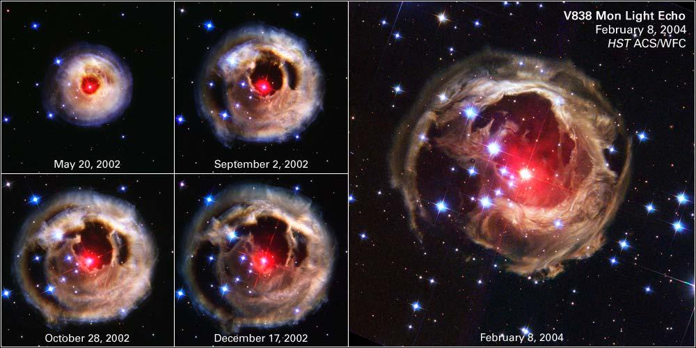 Ekspansja świetlnego echa wokół V838 Monocerotis, która prawdopodobnie powstała w wyniku połączenia się dwóch gwiazd.
