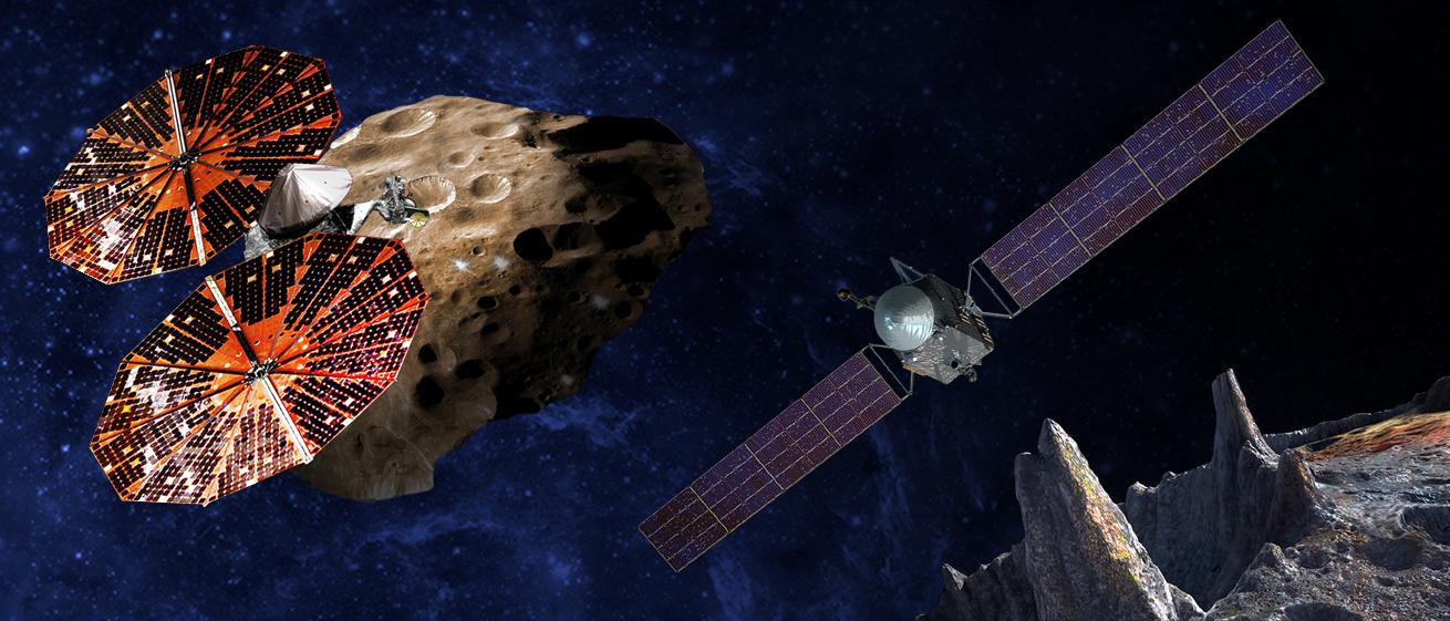 Artstyczna wizja sond Lucy (po lewej) i Psyche(po prawej)