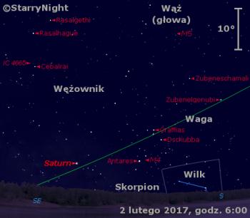 Położenie Saturna w pierwszym tygodniu lutego 2017 r.
