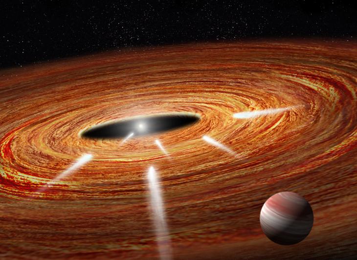 Ilustracja pokazuje kilka komet przemierzających przez rozległy protoplanetarny dysk gazu i pyłu prosto do młodej centralnej gwiazdy. W końcu wpadną do gwiazdy i zaczną parować. Komety są zbyt małe, by je sfotografować, jednak pierwiastki z których są zbudowane zostawiły ślady w widmie gwiazdy, które zostały wykryte za pomocą Kosmicznego Teleskopu Hubble'a.