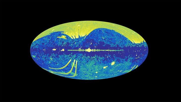 Ta grafika pokazuje wszystkie ciała niebieskie będące źródłem światła, które zostały spisane w bazie danych NED (NASA/IPAC Extragalactic Database), internetowym repozytorium zawierającym informacje o ponad 100 milionach galaktyk.