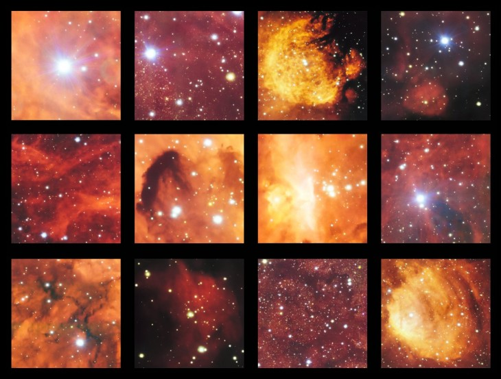 This montage shows a few of the highlights from a spectacular image from the VLT Survey Telescope showing the Cat's Paw Nebula (NGC 6334) and the Lobster Nebula (NGC 6357). This part of the sky contains active regions of star formation where hot young stars make their surrounding clouds of hydrogen glow with a characteristic red colour. There are also clouds of dark dust in this rich celestial landscape.