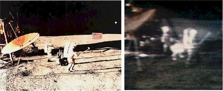 Alan Shepard grający w golfa. Po prawej stronie ujęcie z kamery telewizyjnej.