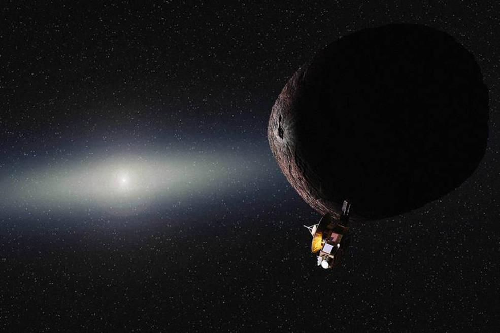 Wizja artystyczna statku kosmicznego NASA New Horizons przelatującego koło obiektu w Pasie Kuipera.