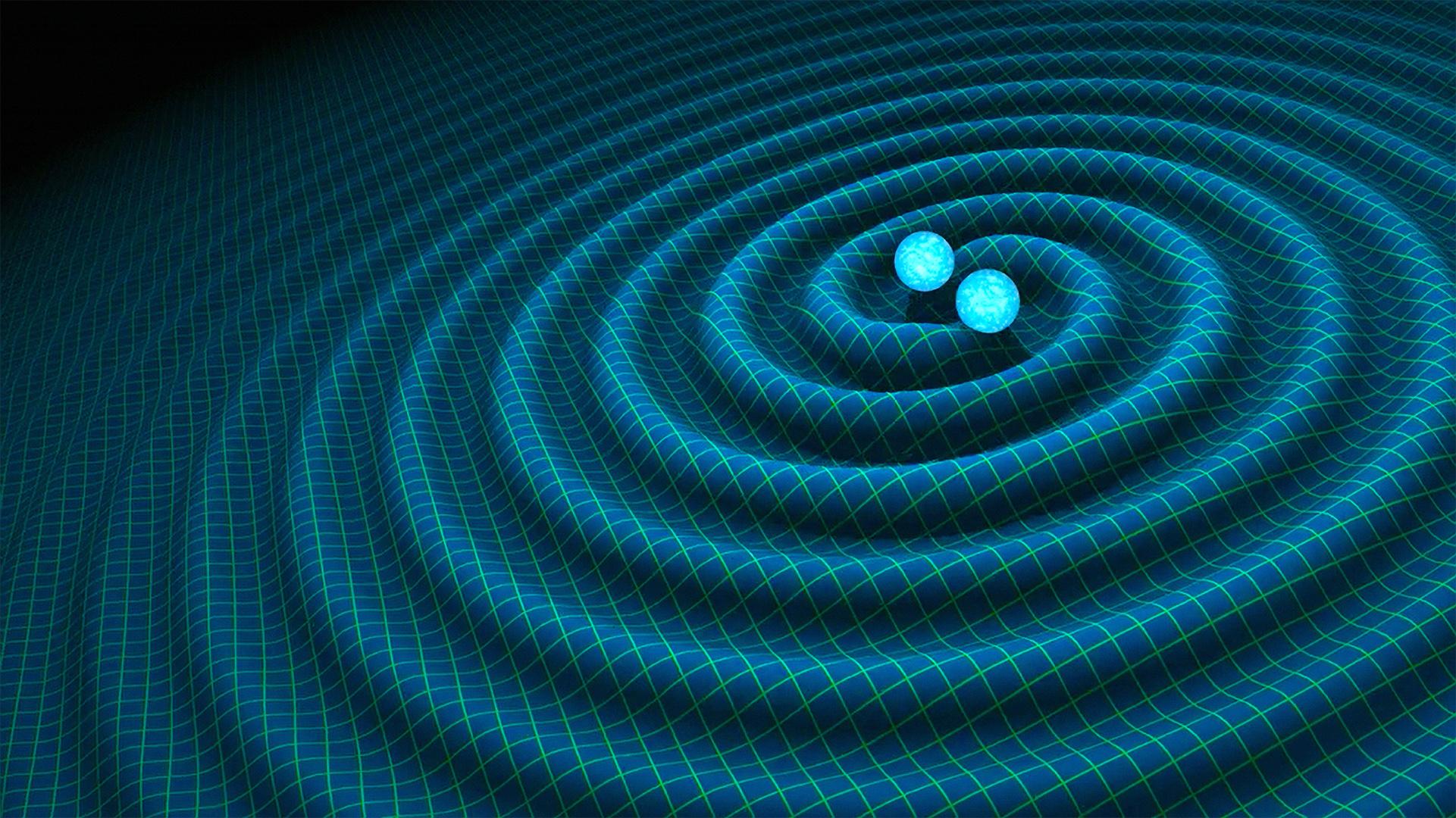 Wizja artystyczna przedstawiająca zderzenie dwóch gwiazd neutronowych.