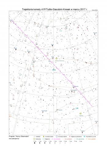 Trajektoria komety 41P/Tuttle-Giacobini-Kresak w marcu 2017 r.