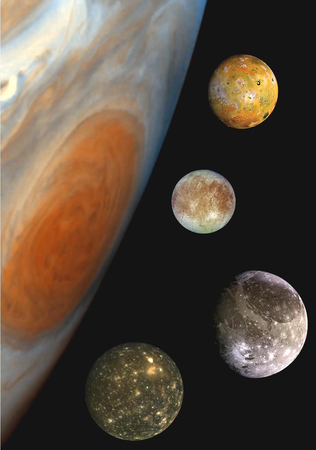 Europa, Ganimedes, Calisto i Io w zestawieniu z Wielką Czerwoną Plamą. Pierwsze trzy to księżyce lodowe Jowisza, czyli główny cel misji Juice.