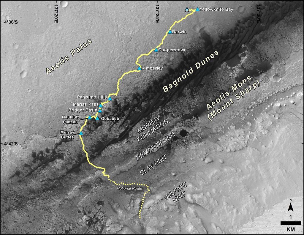 Droga jaką pokonał łazik Curiosity od wylądowania na Marsie w 2012 roku.