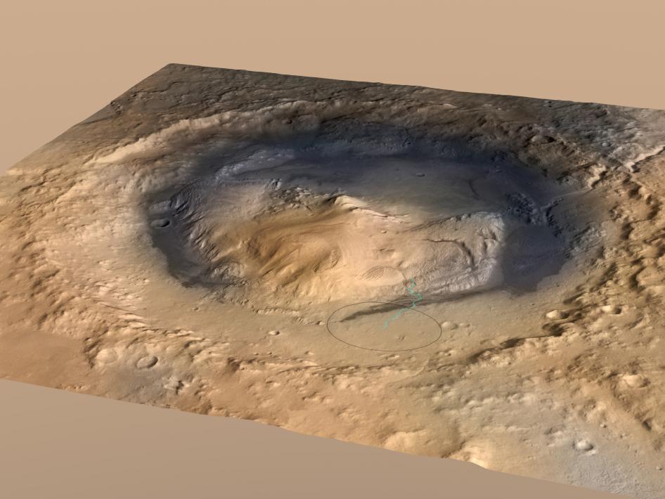Góra Sharpa położona wewnątrz krateru Gale.