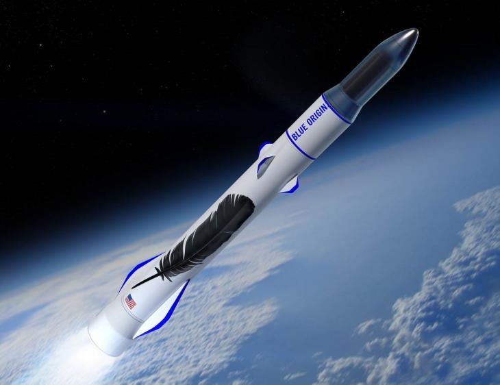 Artystyczna wizja nowej rakiety Blue Origin – New Glenn.