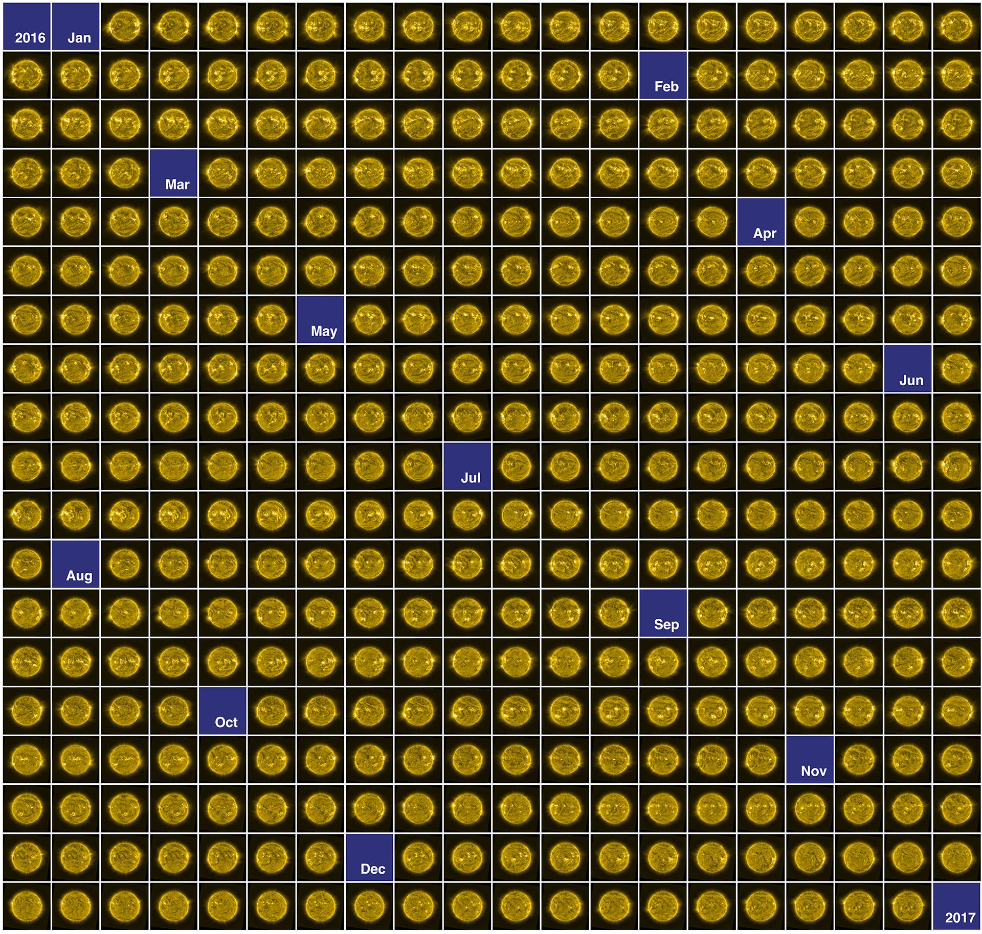 Grafika ukazuje 366 zdjęć (pojednym nakażdy dzień 2016 roku) wykonanych przezsatelitę Proba-2. Obrazy Słońca, zarejestrowane przezaparat SWAP, ukazują jego niespokojną atmosferę wraz zeznajdującymi się naniej dziurami koronalnymi.