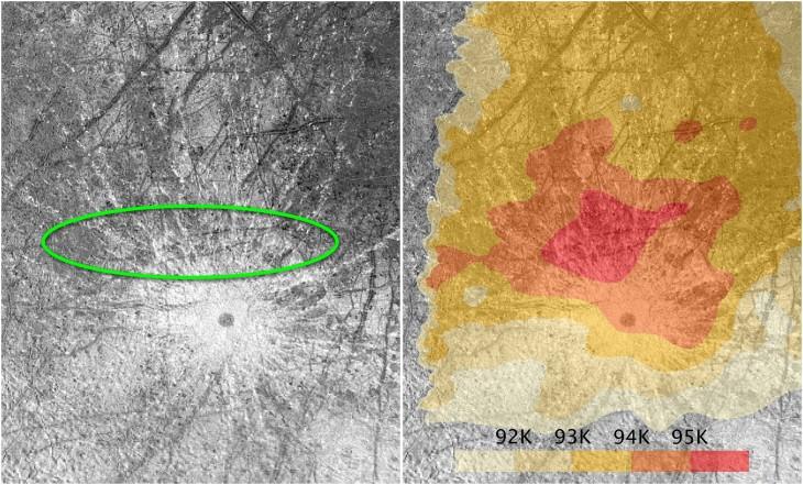 Na obszarze zaznaczonym zielonym kolorem Hubble obserwował erupcje. Ten sam teren wyróżnia się wyższą temperaturą niż reszta powierzchni.