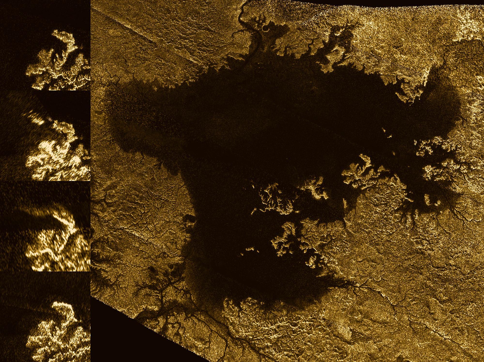 """""""Magiczne wyspy"""" na Ligeia Mare. Seria zdjęć po lewej pokazuje ich zmienność w czasie."""