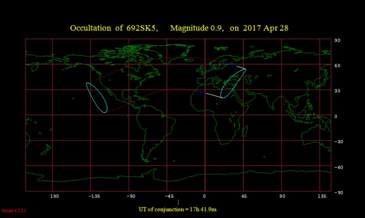 Obszar widoczności zakrycia Aldebarana przez Księżyc 28 kwietnia 2017 roku.