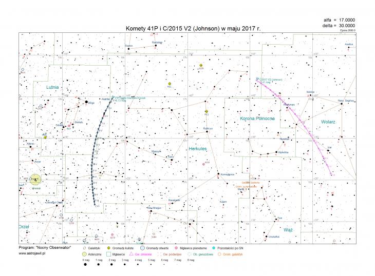 Trajektorie komet 41P/Tuttle-Giacobini-Kresak i Johnsona (C/2015 V2) w maju 2017 r.